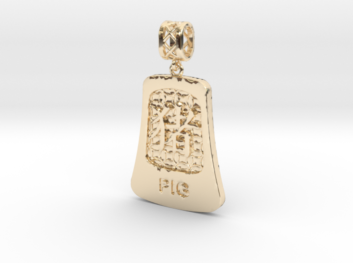Chinese 12 animals pendant with bail - the Pig 3d printed