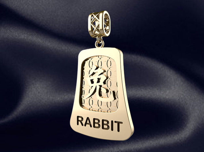 Chinese 12 animals pendant with bail - the rabbit 3d printed RENDER PREVIEW
