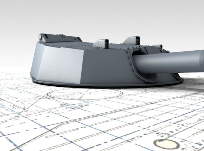 "1/200 HMS Australia/New Zealand 1913 12"" MKX Guns  3d printed 3d render showing Turret A detail"