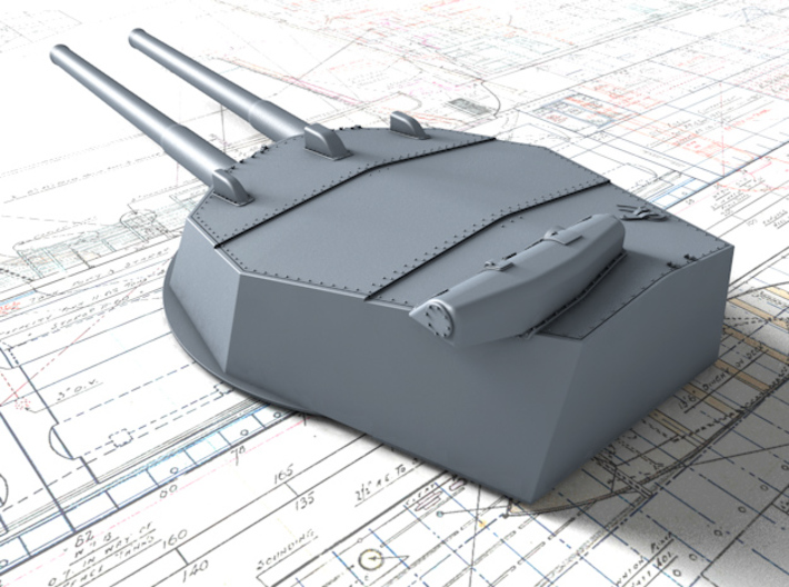 """1/128 HMS Australia/New Zealand 1914 12"""" MKX Guns  3d printed 3d render showing Turret P, Q and Y  detail"""