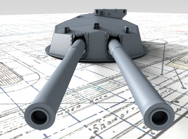 """1/144 HMS Australia/New Zealand 1914 12"""" MKX Guns  3d printed 3d render showing Turret P, Q and Y  detail"""