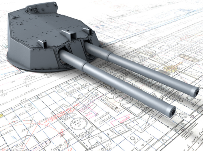 """1/128 HMS Australia/New Zealand 1915 12"""" MKX Guns  3d printed 3d render showing Turret P, Q and Y  detail"""