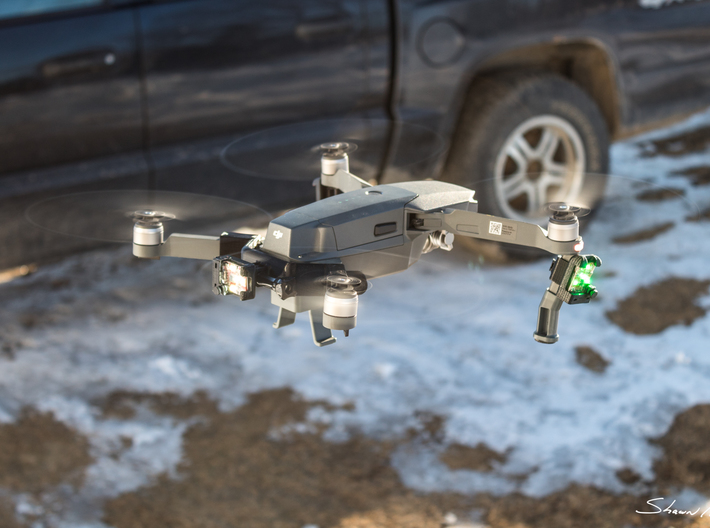 ARC II Strobe Light Enclosure for DJI Mavic Pro Dr 3d printed In flight and combined with the VASTmicro rear Mavic Pro mount bar