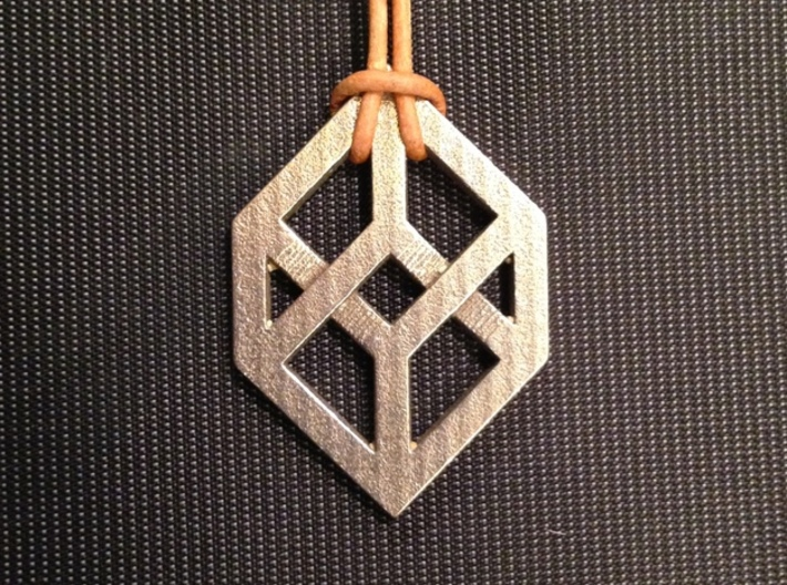 Necker/Impossible Cube Pendant 3d printed 'Front' (Impossible Cube)