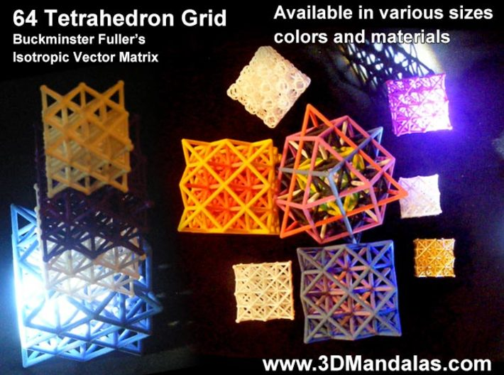 64 Tetrahedron Grid 10cm Isotropic Vector Matrix 3d printed