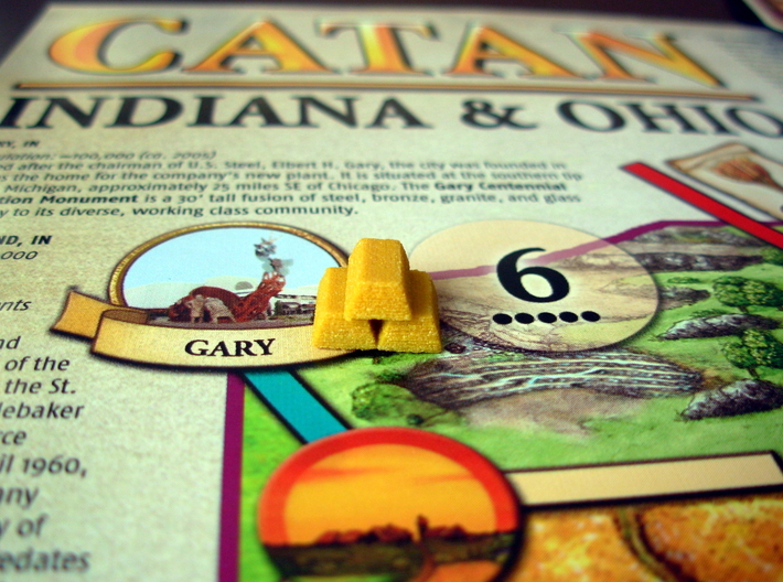 Gold Bars for Catan Indiana & Ohio Scenario 3d printed Gold in Gary, Indiana!