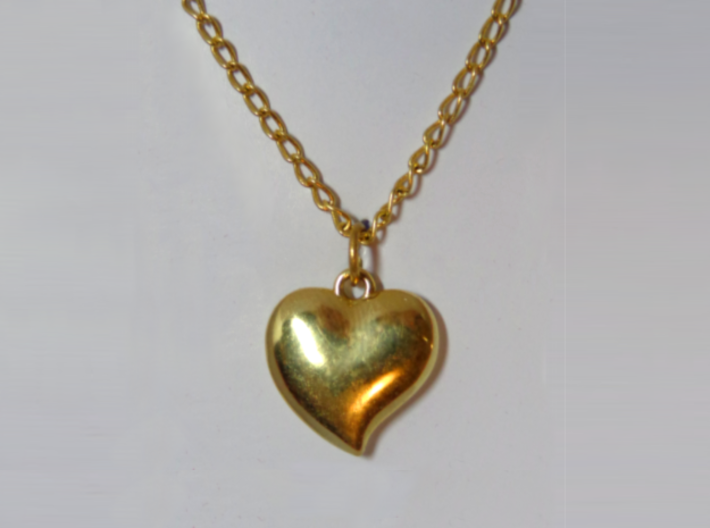 Heart Pendant 3d printed Pendant printed in polished brass and attached to chain