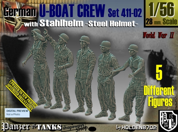 1/56 German U-Boot Crew Set411-02 3d printed
