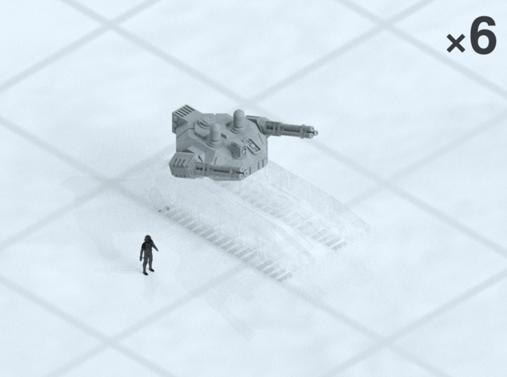 "6mm Anti-Air Turrets (6) 3d printed Shown on 1"" grid with 6mm figure (not included) for scale."