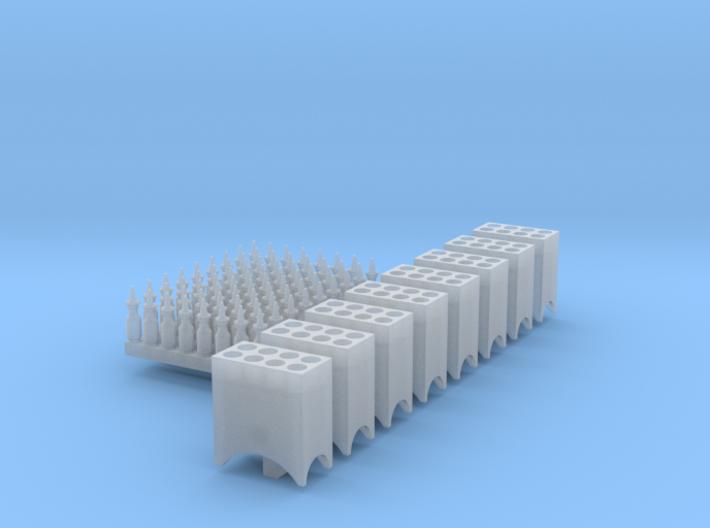 1:87 Quart Oil Bottles (72) and Racks (8) Ver 4 3d printed