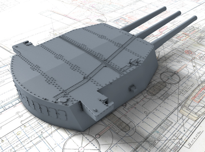 "1/200 HMS Nelson 16""/45 (40.6 cm) Mark I Guns 1927 3d printed 3d render showing A,B and X Turret detail"