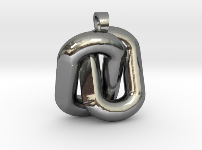 Two interlaced links  [pendant] 3d printed