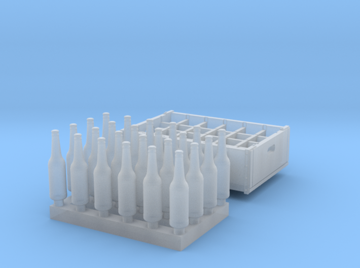 O scale - 24 bottles, 1 crate 3d printed