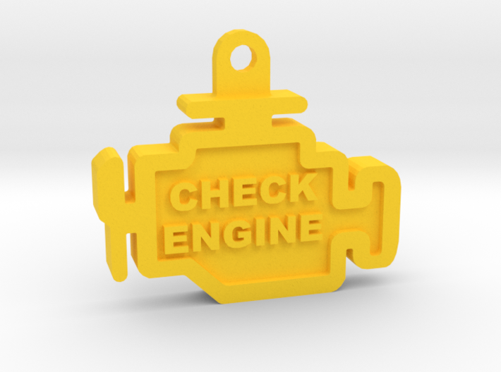 Check Engine Light Keychain (with text) 3d printed