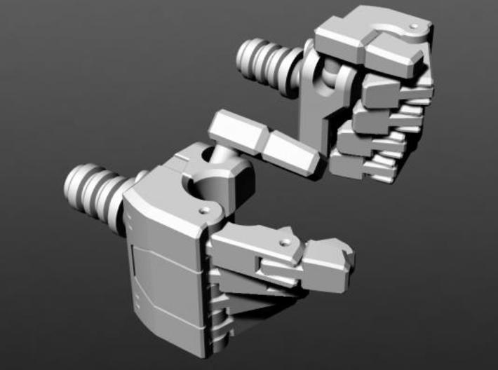 MP Seeker hands (peg wrist variant) 3d printed front view.