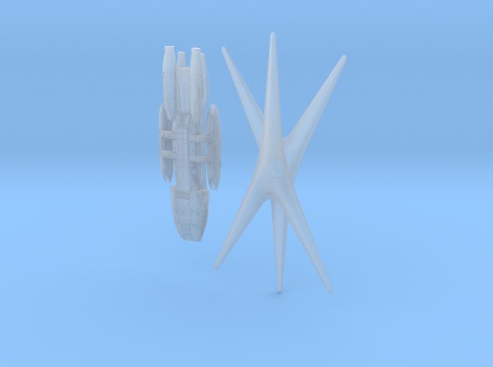 Battlestar Galactica 1:15000 And Cylon Basestar 3d printed