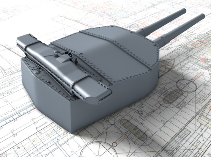"1/200 HMS Hood 15"" (38.1 cm) Mark II Turrets 1920 3d printed 3d render showing A Turret detail"