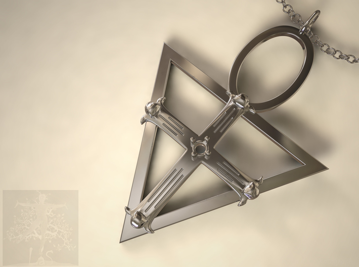 RoseCross with stone setting / Silver Pendant / Sp 3d printed not a real image