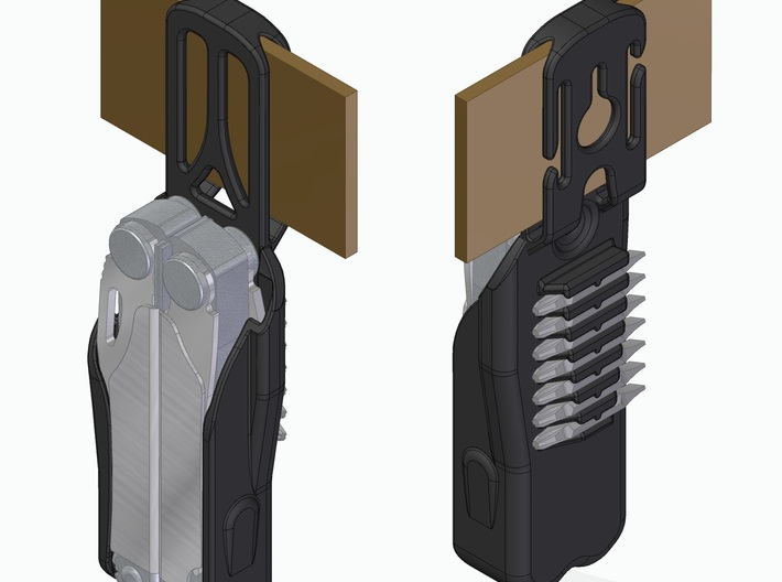 Leatherman Wave Holster, Drop design 3d printed Render showing drop design.