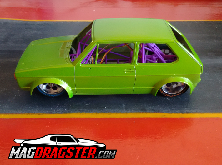 MagDragster [MD-Golf01] RC Car / MagRacing Car 3d printed MagDragster - You need the TAMIYA 1/24 VW Golf Racing Group 2 body for this chassis.