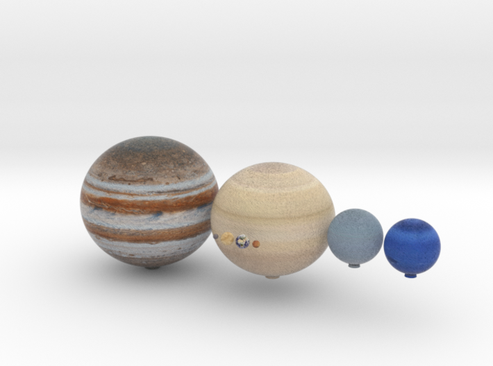 The 8 planets to scale, 1:1 billion 3d printed