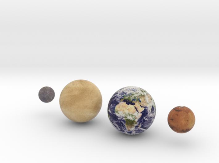 The 4 Rocky Worlds, 1:1 billion 3d printed