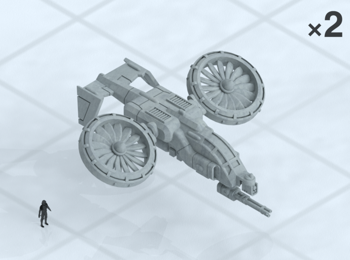 """6mm Light VTOL Gunship (2) 3d printed Shown on 1"""" grid with 6mm figure (not included) for scale."""