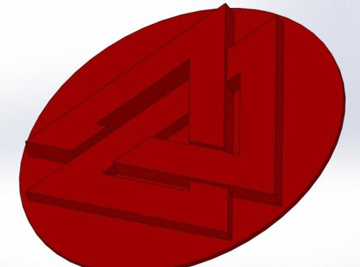 """Valknut Wax Seal 3d printed What the wax will look like (about 3/4"""" diameter)"""