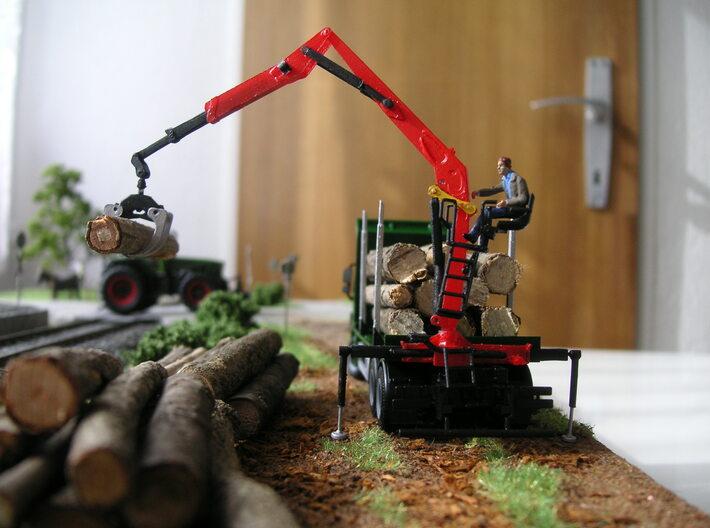 H0 1:87 Moderner Z-Kran mit Holzgreifer 3d printed