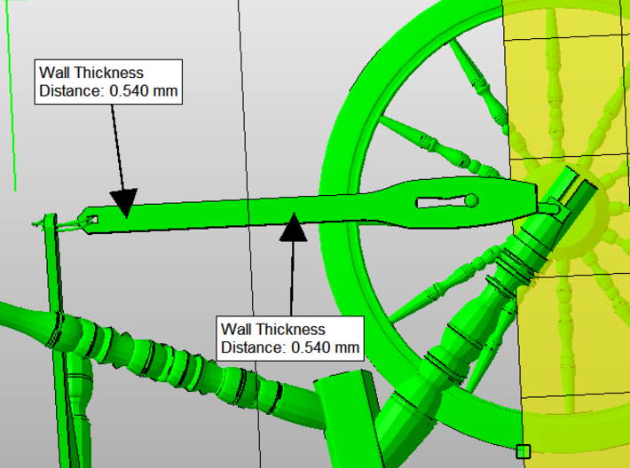 Spinning Wheel 1:12 3d printed This is the issue one has to resolve manually...