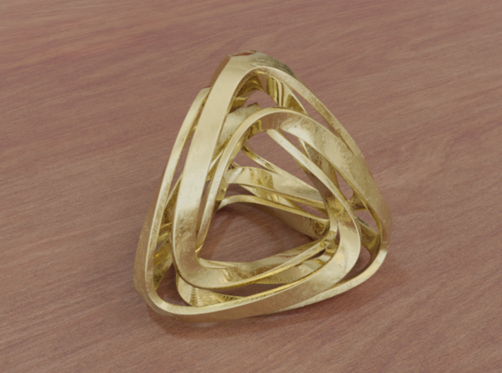 Twisted Tetrahedron (Thin) 3d printed Matte Gold (render)