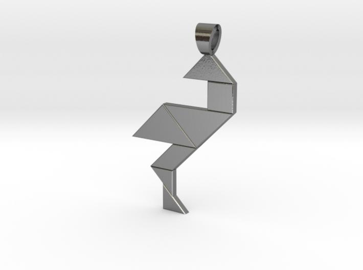 Wading bird tangram [pendant] 3d printed