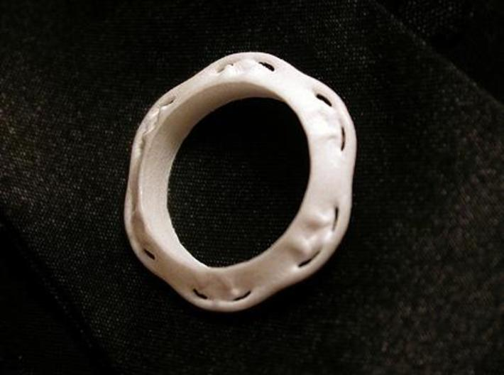 Flower Ring (Size: 7.5) 3d printed WSF Polished