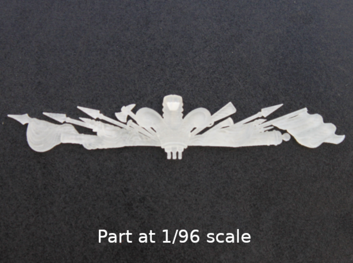 "1:96 HMS Victory ""Trophy Of Arms"" Stern Decoration 3d printed Part at 1/96 scale"