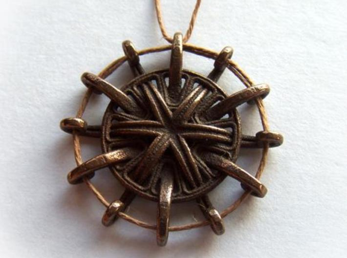 Tentacle Rosette Pendant 3d printed In antique bronze glossy