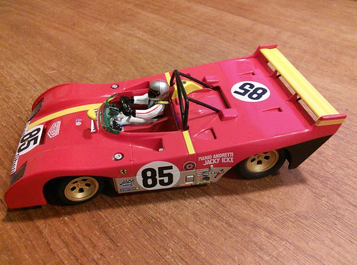 CK8 Chassis Kit for 1/32 Scale 2.4ghz RC Mag Steer 3d printed Ferrari 312 PB built from CK8 and Slot.it slot car kit.