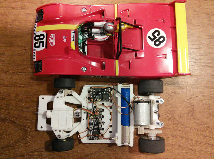 CK8 Chassis Kit for 1/32 Scale 2.4ghz RC Mag Steer 3d printed To minimize wheelbase, motor was glued to back of battery box on this earlier version of CK8.