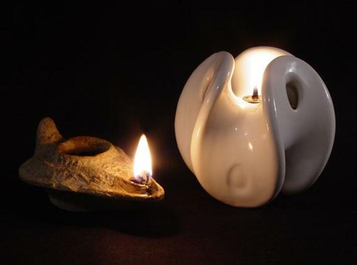 Enneper Oil Lamp 3d printed 2000 years apart