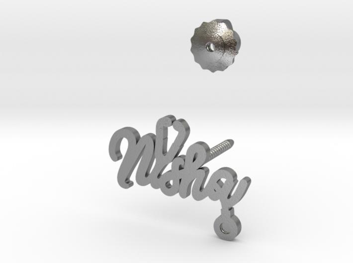 Nisha Earrings Single Side - Silver 3d printed