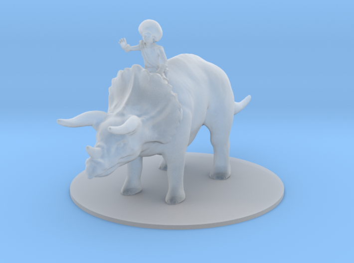 Human Female Mage on her Triceratops 3d printed