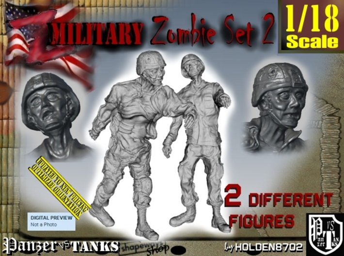 1-18 Military Zombie Set 2 3d printed