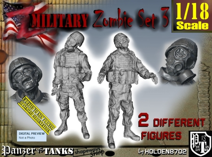 1-18 Military Zombie Set 3 3d printed