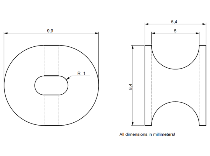 Panama Fairlead (5 pcs.) 3d printed Dimensions of the fairlead. If you need a special size, please refer to this drawing.
