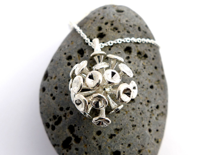 Discosphaera Coccolithophore pendant 3d printed Discosphaera pendant in sterling silver