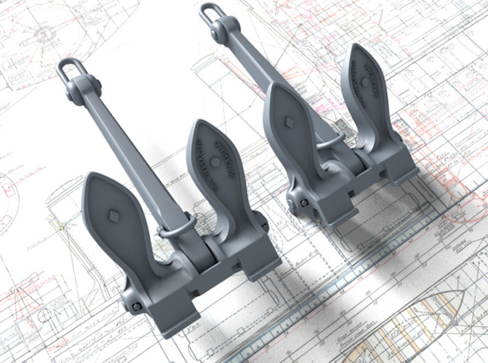 1/192 RN Byers Stockless Anchors 75cwt x2 3d printed 1/192 RN Byers Stockless Anchors 75cwt x2