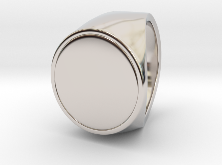 Signe - Unique US 8 Small Band Signet Ring 3d printed