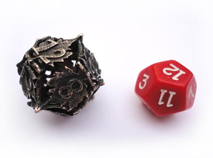 Botanical Die12 (Maple) 3d printed In comparison to a standard d12