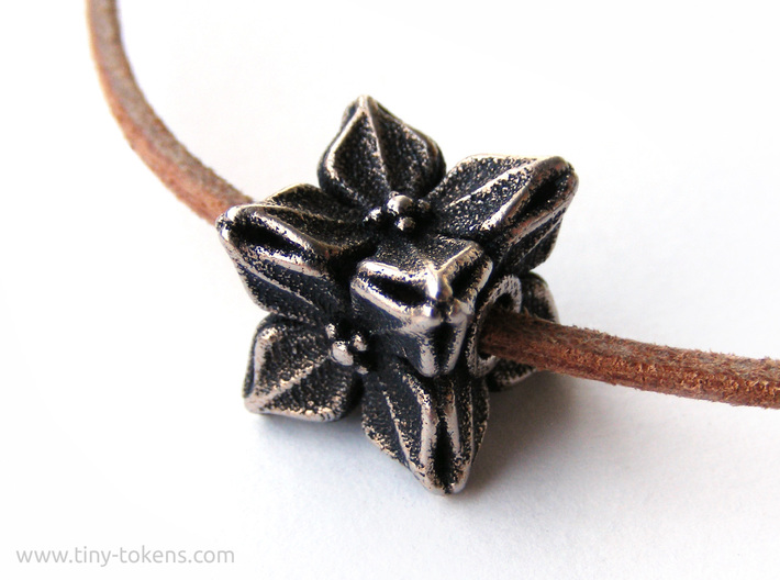 Floral Bead/Charm - Cube 3d printed Polished Bronzed-Silver Steel blackened with acrylic ink