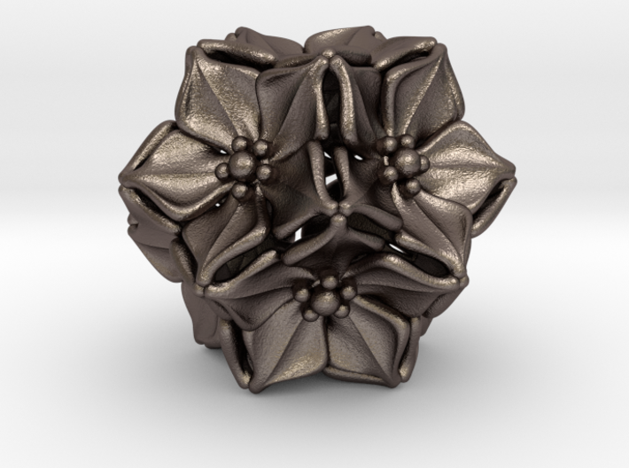 Floral Bead/Charm - Dodecahedron 3d printed
