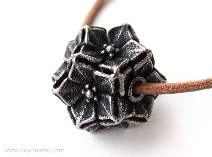 Floral Bead/Charm - Dodecahedron 3d printed Polished Bronzed-Silver Steel blackened with acrylic ink